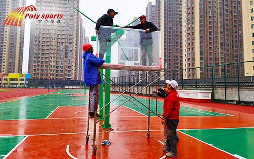 金华篮球场施工安装篮球场架时注意点