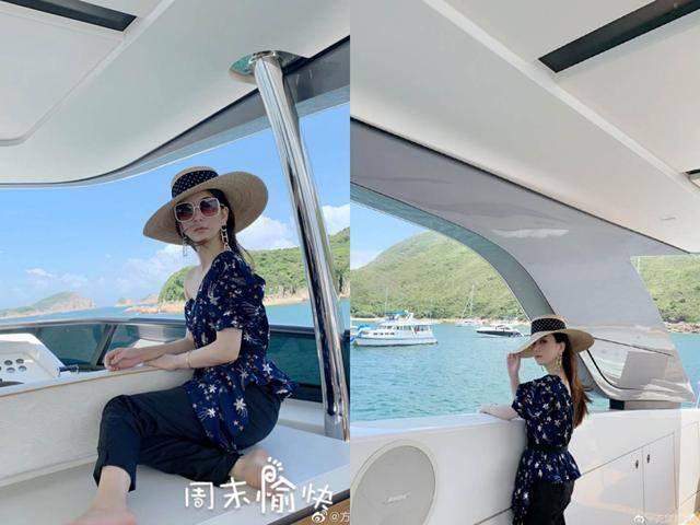 天王嫂方媛带女儿度假,豪华游艇秀美照,露脐装马甲线抢眼