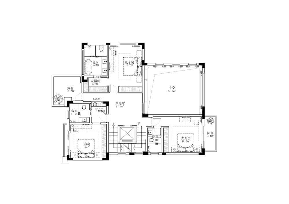 二层150平方别墅平面图