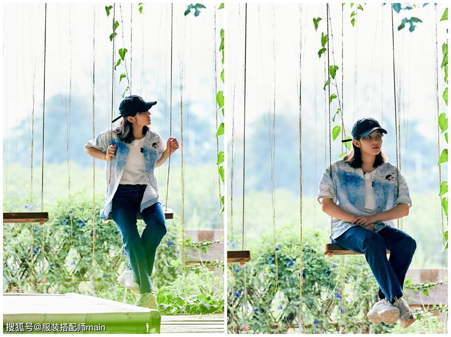 19岁张子枫不扮成熟不装可爱,造型简单自然,穿出最舒服的高级感