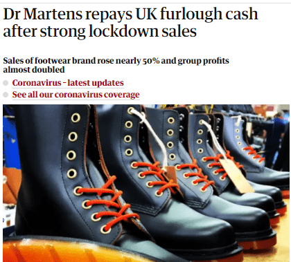 一口气退还近4个月政府补贴,Dr Martens在疫情中逆境增长