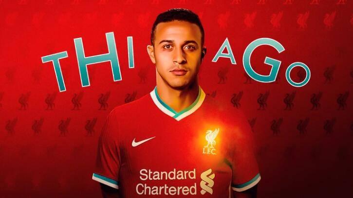 官方:利物浦宣布蒂亚戈加盟 签约4年身披6号球衣