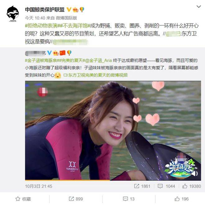 吴宣仪金子涵涂口红亲吻海豚遭点名批评,又翻车!