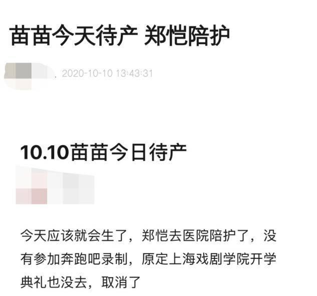 跑男团路透独缺郑恺,疑正陪苗苗待产?豪情波动至今未进行婚礼(图1)