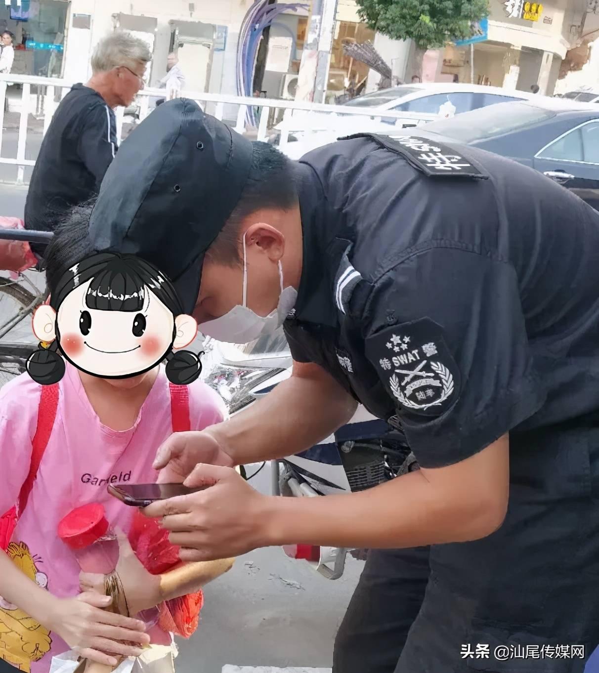 陆丰一学生领着她,向特警求助