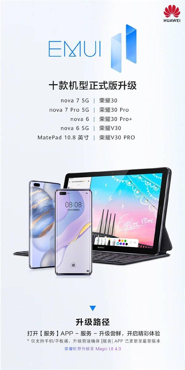 华为EMUI11正式版最新可升级设备以及工信部入网新机来了