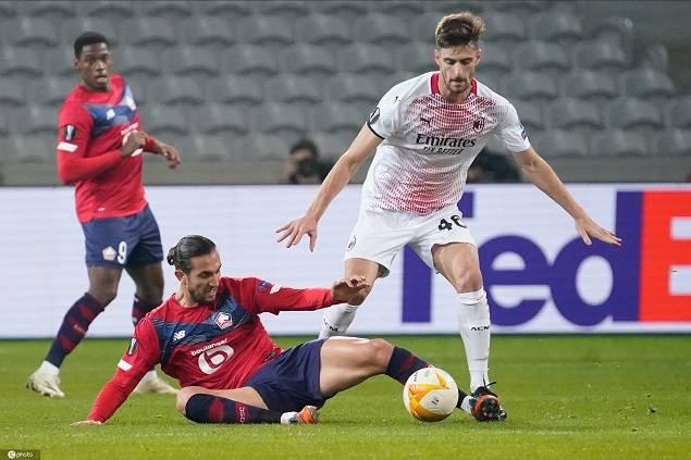 全场竞赛结束,里尔在主场以1-1的比分战平米兰