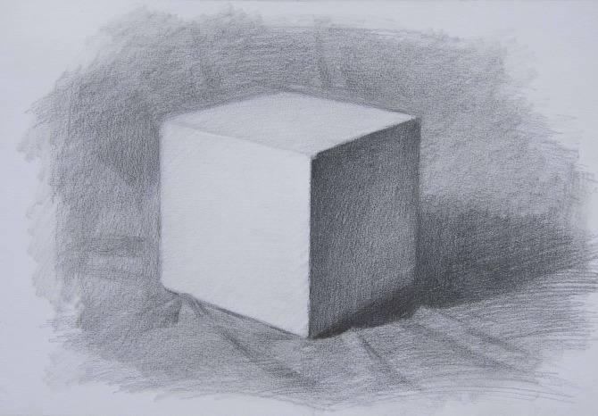 素描石膏像正方体如何画?怎么画好素描正方体? 教学教程-第5张