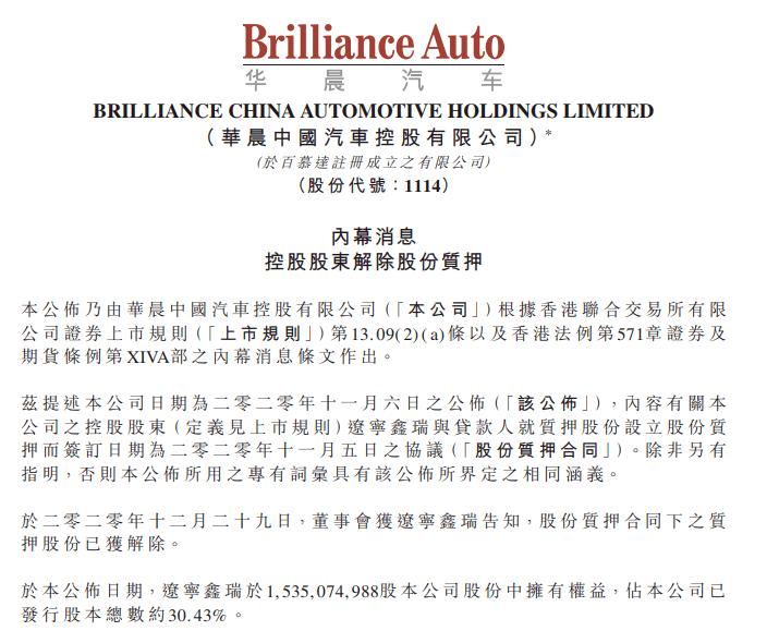 华晨新闻!违约事件出现新进展,华晨中国的股权质押被解除