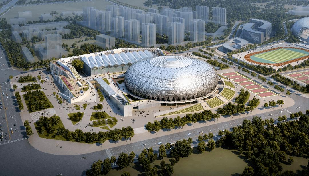 预计2021年8月投用!贵阳奥体中心(二期)项目启动钢结构施工图片