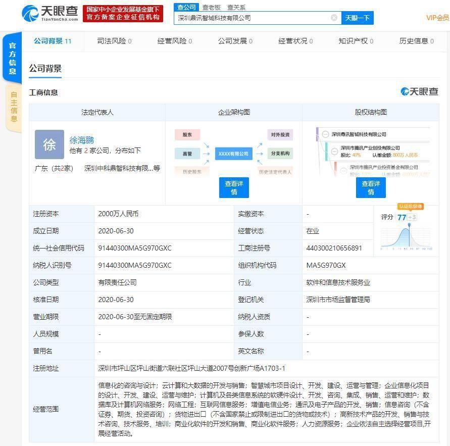 深圳市腾讯产业创投有限公司参与成立新公司 注册资本2000万人民币
