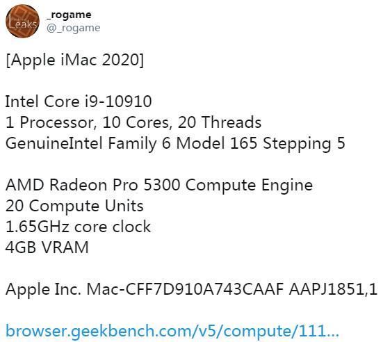 Geekbench 基准测试数据库中出现了一台疑似 iMac 新机