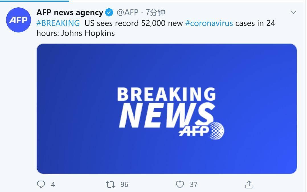 快讯!约翰斯·霍普金斯大学:美国24小时内新增52000例新冠确诊病例