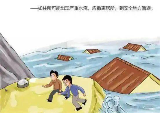 如住所可能出现严重水淹,应撤离居所,到安全地方暂避。