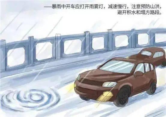 暴雨中开车应打开雨雾灯,减速慢行,注意预防山洪,避开积水和塌方路段。
