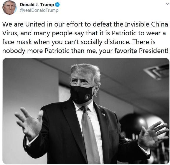 """戴上口罩继续甩锅!特朗普发推再提""""中国病毒"""""""