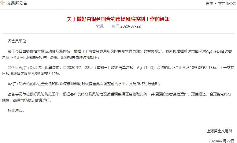 北京房山区上金所:拟上调白银延期合约