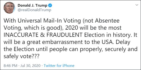 特朗普发推质疑邮寄投票,呼吁推迟大选_