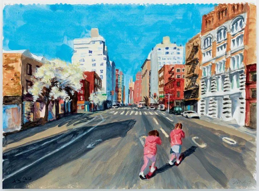 因为疫情滞留,中国画家画下纽约的脆弱