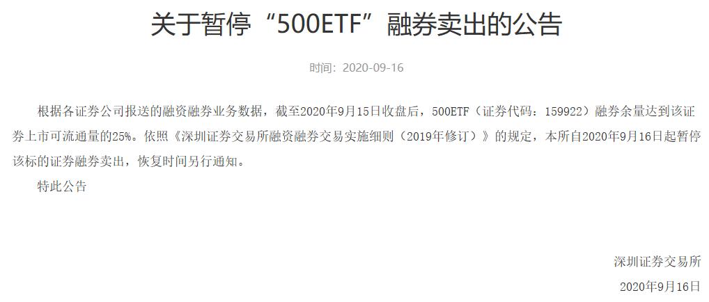 500ETF暂停融券卖出有何深意?