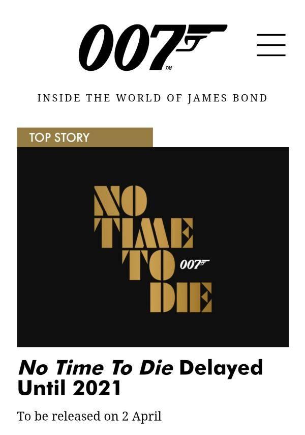 第25部分007 《无暇赴死》再次延期