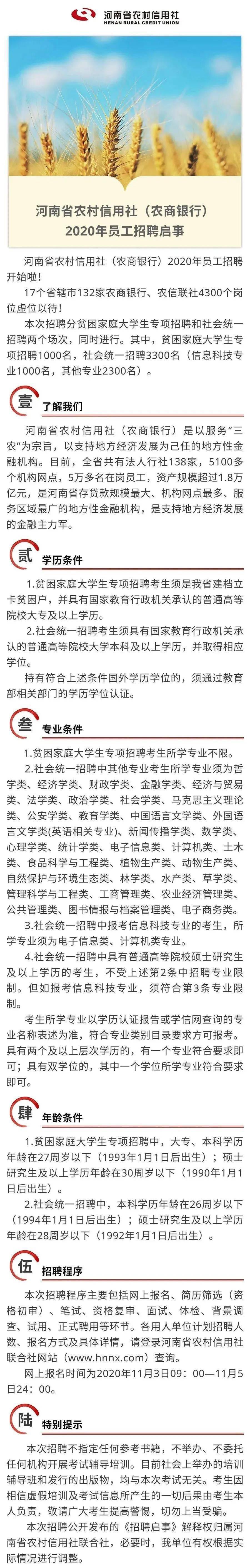 河南省农村信用社(农商银行)2020年招聘启事|甜甜(图1)