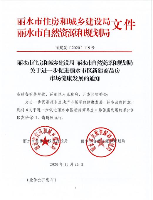 浙江丽水楼市新政:开始严格执行新房预售价加推不涨原则!