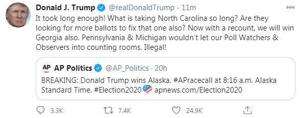 特朗普炮轰北卡罗来纳州计票慢 特朗普势必赢下美国大选