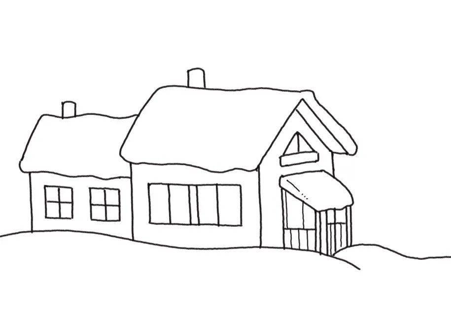 冬天的简笔画,画出美丽雪景与温暖小屋