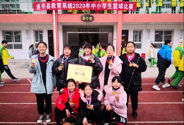 遂平三小在县中小学篮球赛中夺得女子组冠军