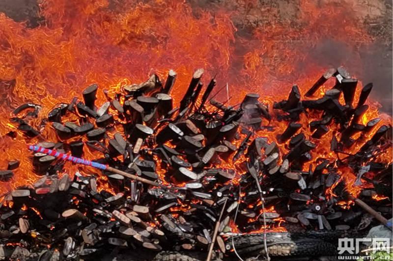 西双版纳公开销毁一批非法枪支及毁林器具