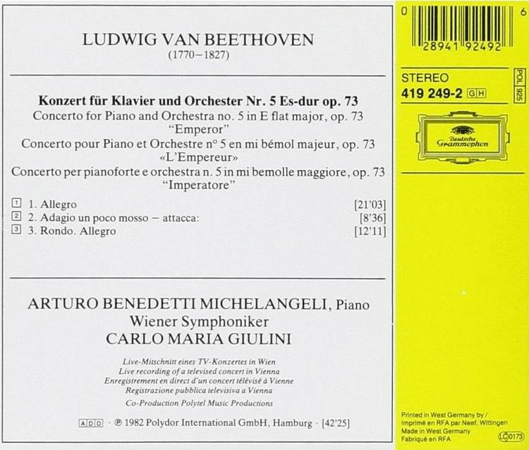 """【靓碟试听】极尽苛刻的音色与层次:米凯兰杰里/朱里尼 《贝多芬钢琴协奏曲No.5""""皇帝""""》"""