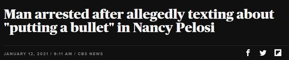 """美国一男子想将佩洛西""""爆头"""",被捕"""