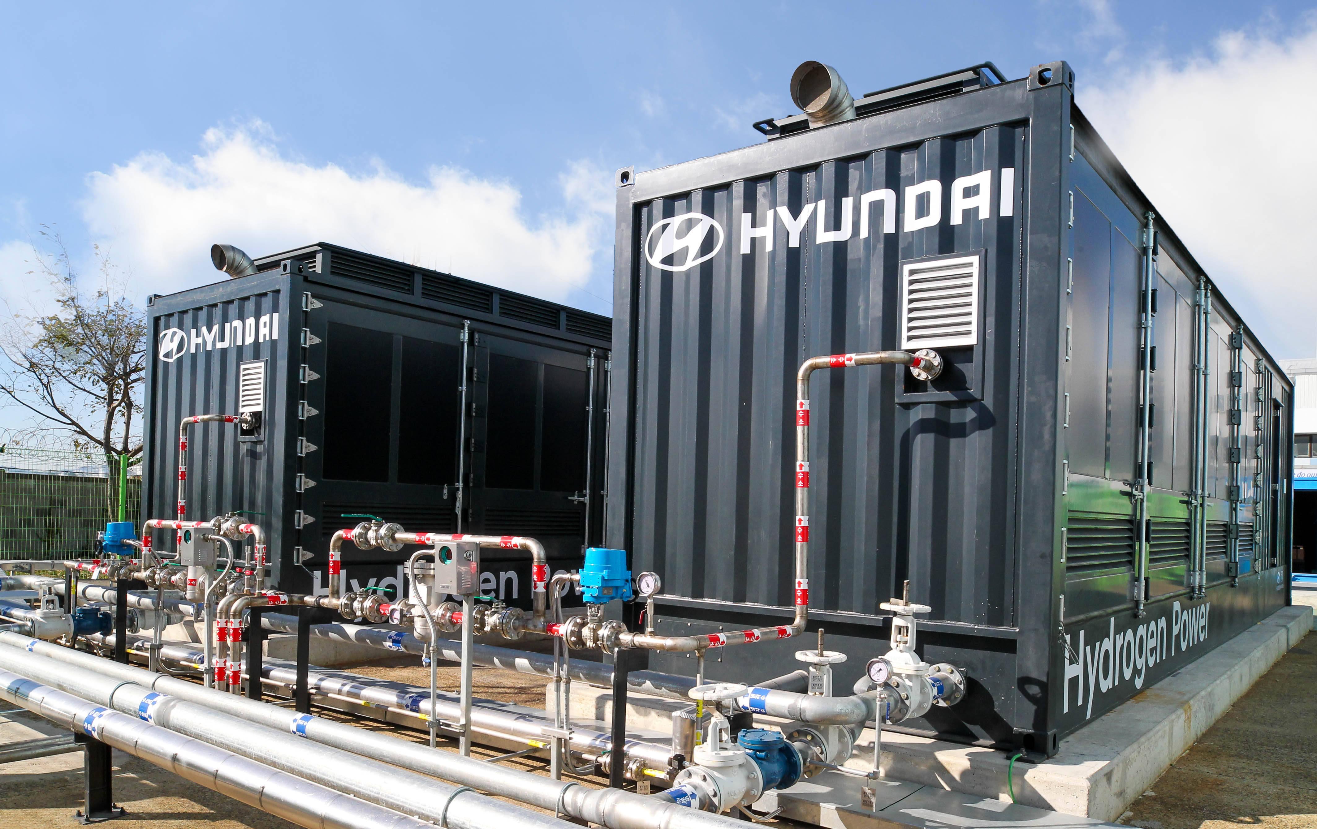 现代汽车公司的氢燃料电池发电项目正式完成并进行演示