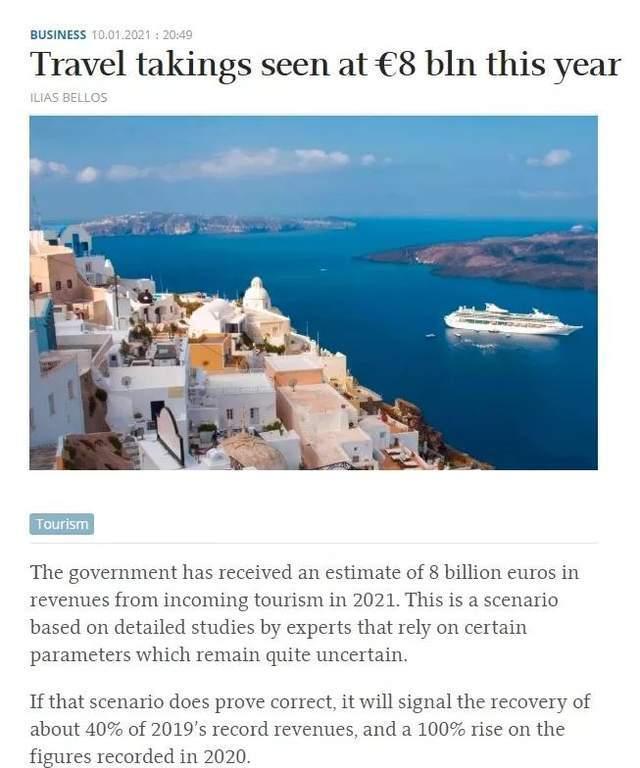 """2021年希腊仍将是投资""""金矿"""",预计旅游收入80亿欧元"""