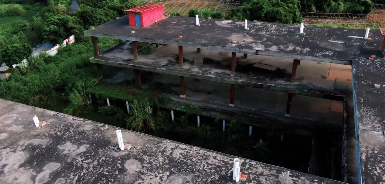 厦门村落田间的废弃楼房,只有框架无人施工,是当地人散步好去处
