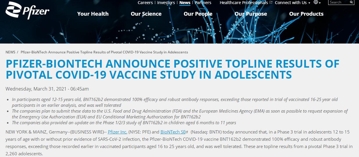 辉瑞发布新冠疫苗最新数据:对12至15岁人群有效率达100%