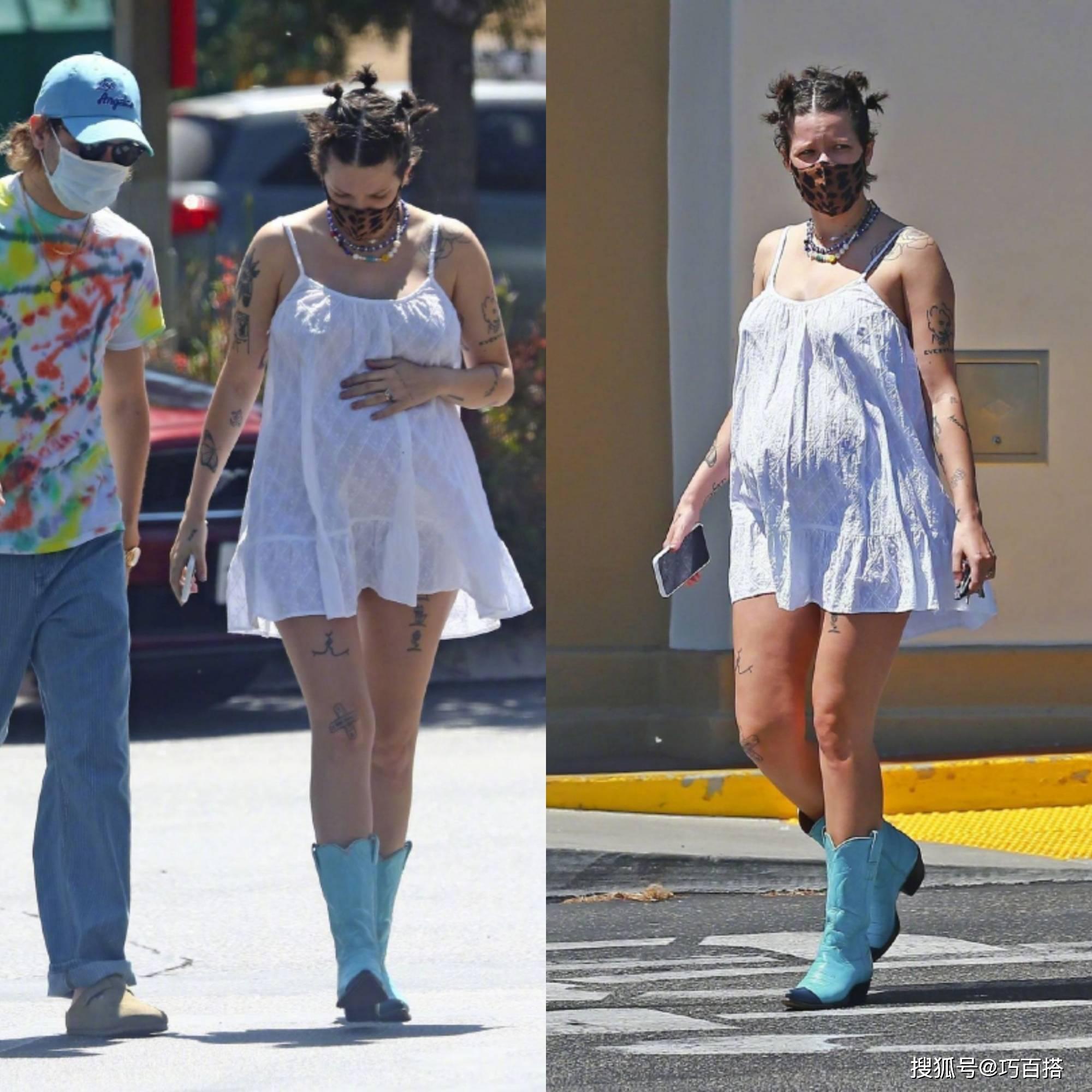 """海尔希太酷了!挺孕肚出街穿衣打扮依然带感,""""酷妈""""就是了不起"""