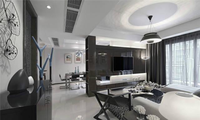 91平后现代风以黑白灰为色调,玄关处用矮柜做鞋柜也可储物