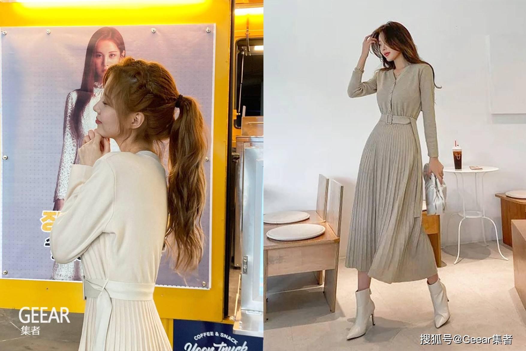 徐玄这条米色连衣裙,将衣服穿出高级感的代表!