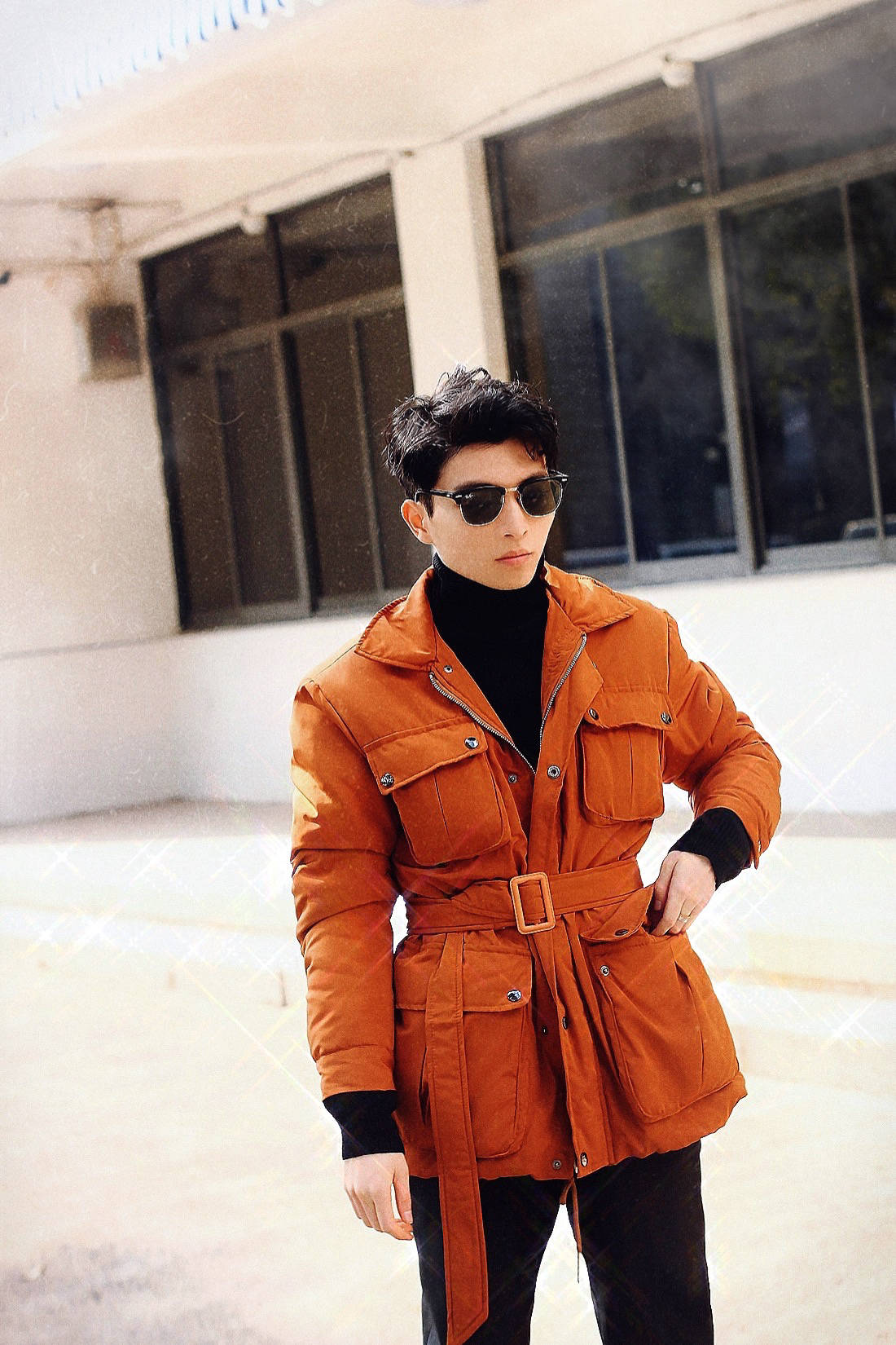【男士时尚】丨橘色夹克混搭,生活随拍记录...                                   图1