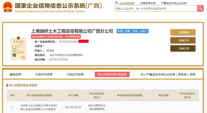 上海瑞桥土木工程咨询有限公司广西分公司被列入经营异常