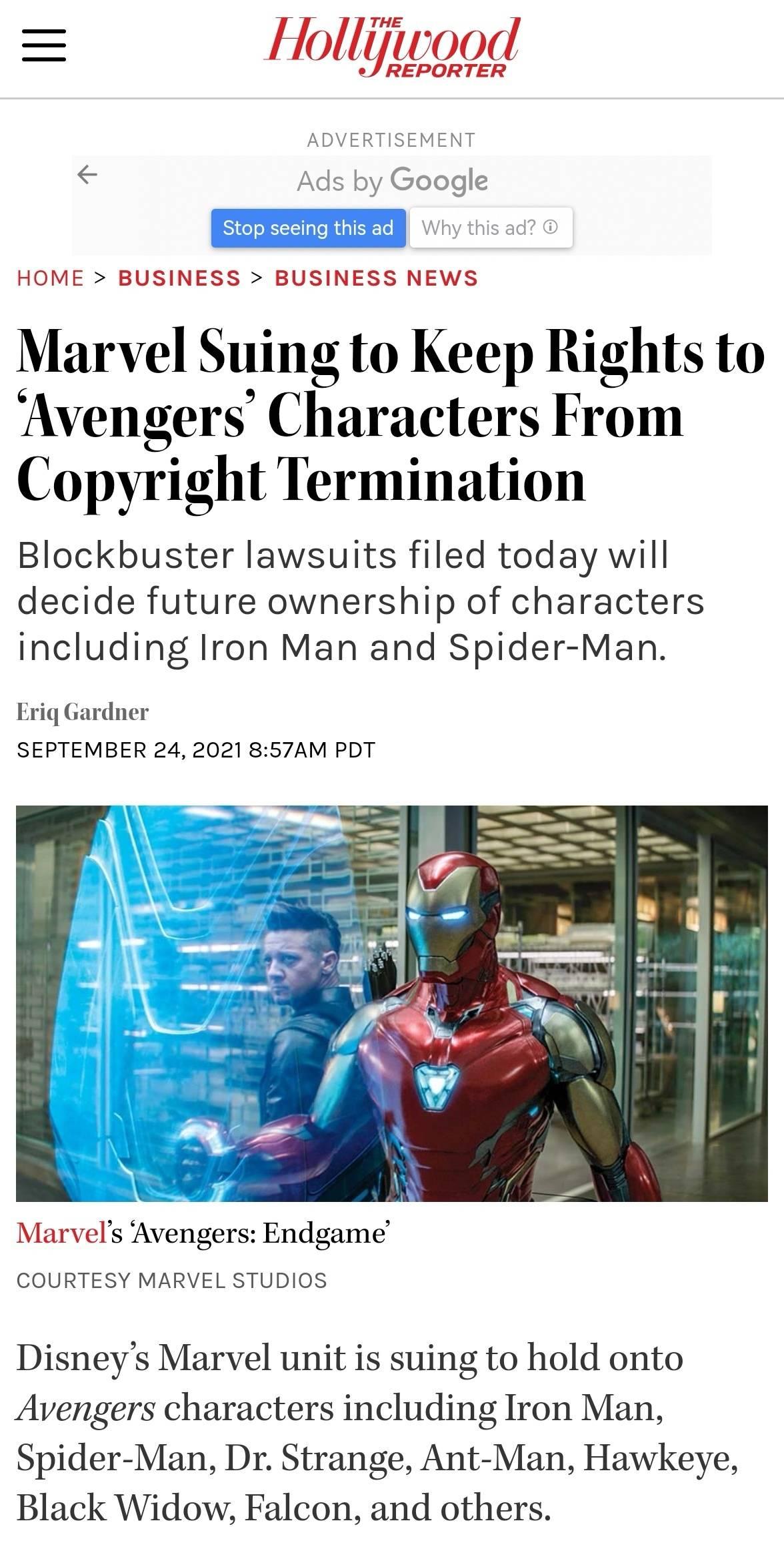 迪士尼旗下漫威部门提起诉讼 要求保住复仇者联盟角色版权