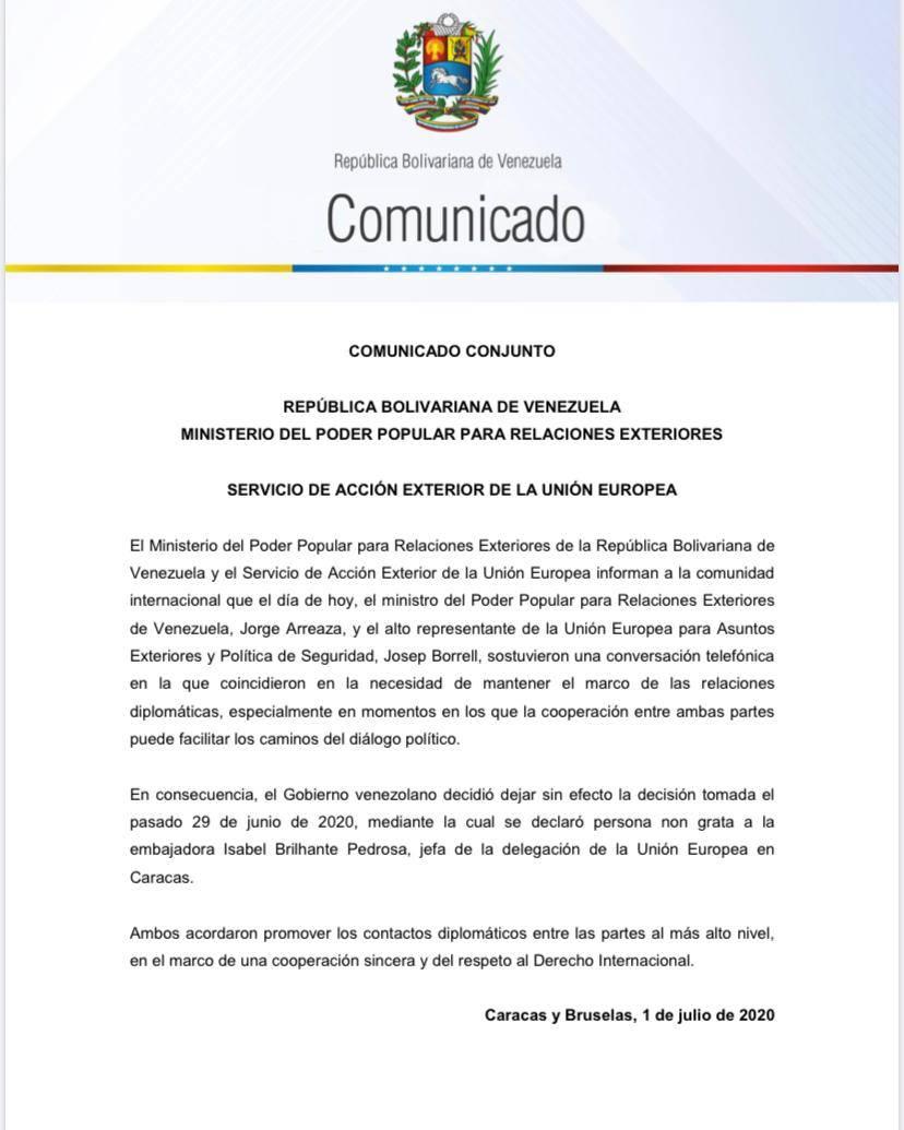 委内瑞拉撤销对欧盟驻委大使的驱逐令