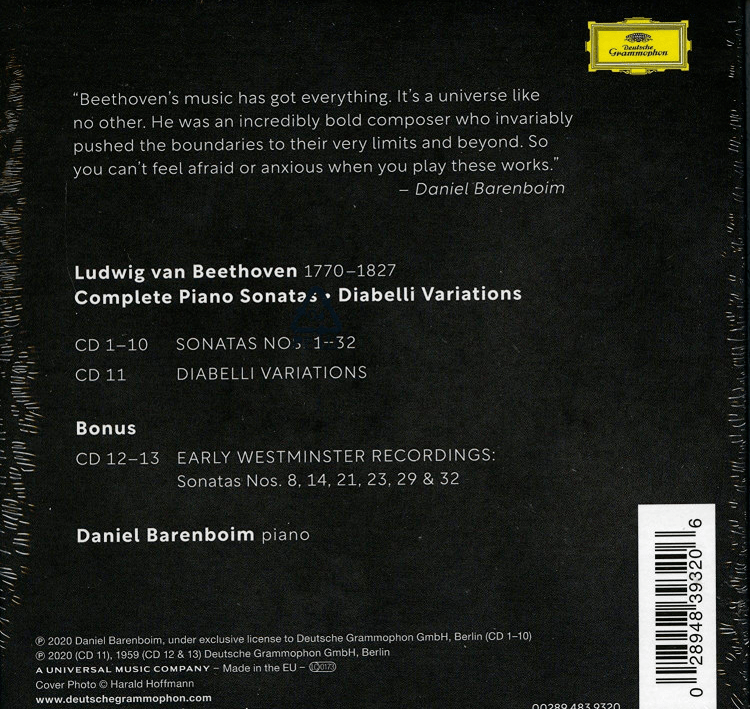 """高德平台指定注册【享乐特惠】""""为熟悉的作品投下新的光芒"""":巴伦博伊姆2020全新录音《贝多芬钢琴奏鸣曲集》13CD"""