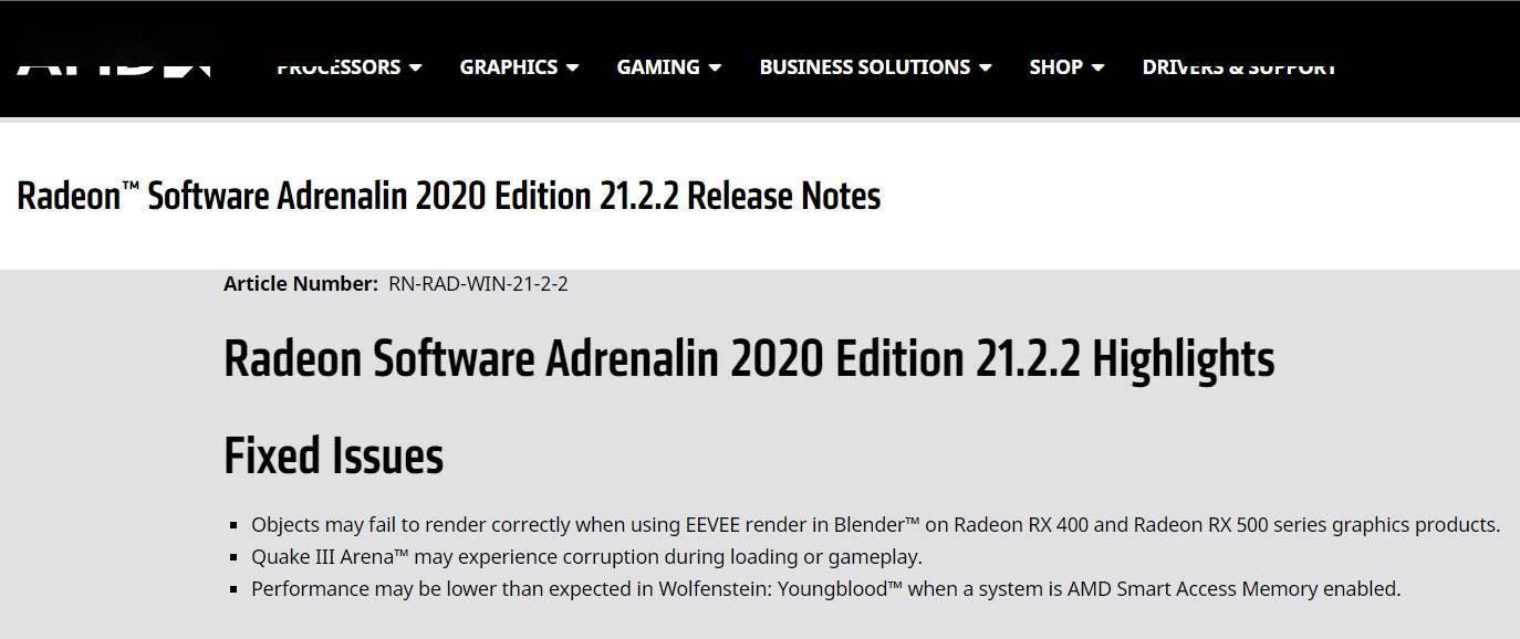 AMD 公布 Radeon 21.2.2 显卡驱动:修复 RX 400/500 系显