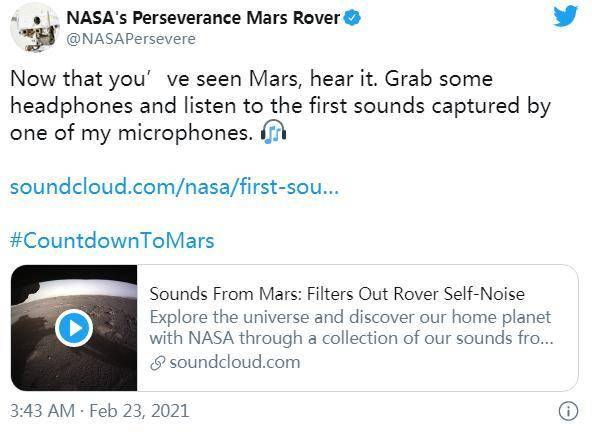 """NASA公布毅力号新视频 邀你听听火星的""""声音"""""""