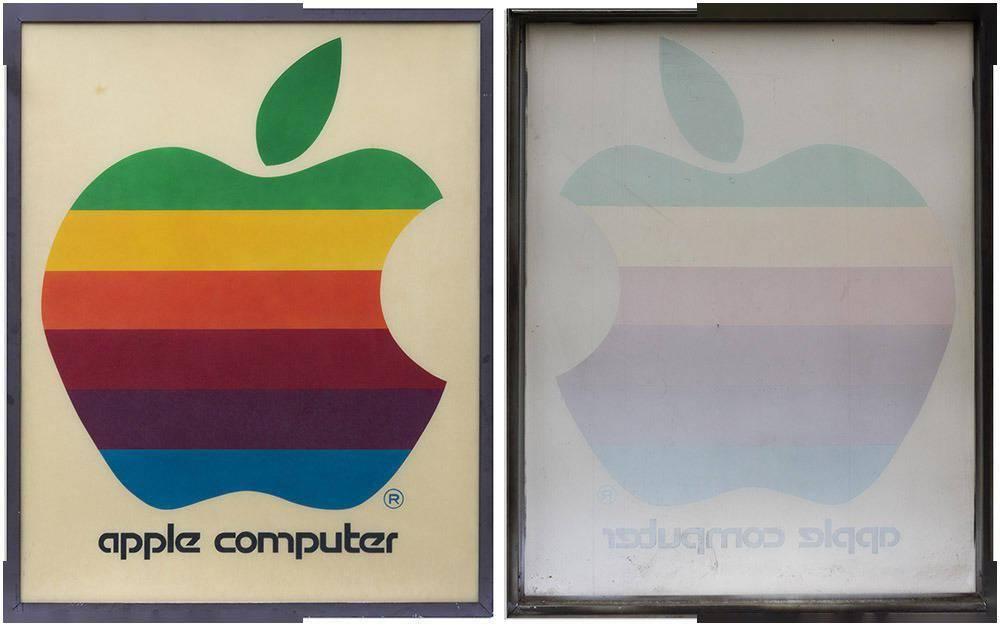 彩虹色的苹果电脑零售标志广告牌将拍卖 77000元起拍