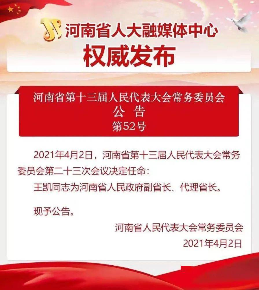 王凯任河南省副省长、代理省长