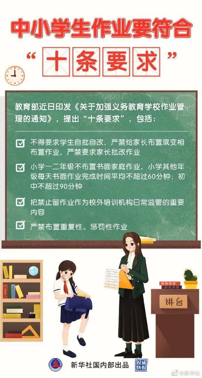 """严禁要求家长批改作业!教育部出台10条作业""""减负令"""""""
